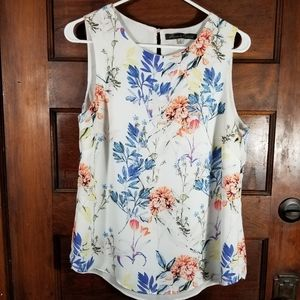 Rose and Olive floral sleeveless blouse